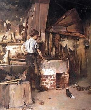 Theodore Robinson - The Forge (or An Apprentice Blacksmith)