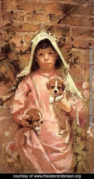 Theodore Robinson - Girl with Puppies, 1881