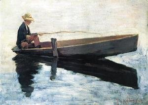 Boy in a Boat Fishing