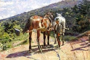 Theodore Robinson - On the Tow-Path - A Halt