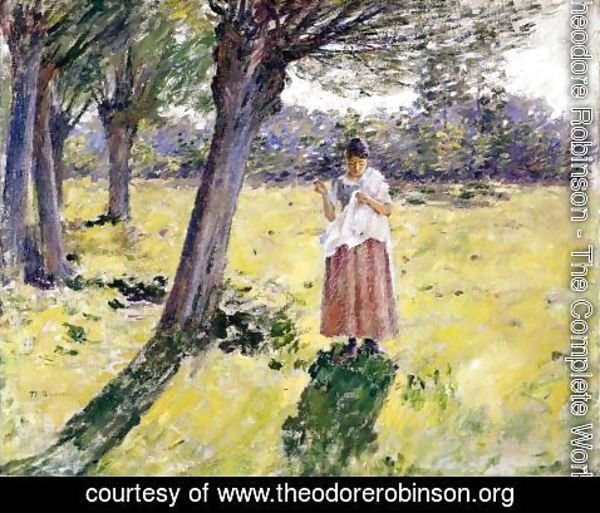 Theodore Robinson - Woman Sewing, Giveny