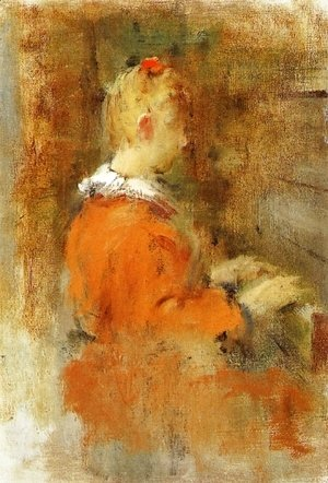Theodore Robinson - Girl in Red at the Piano