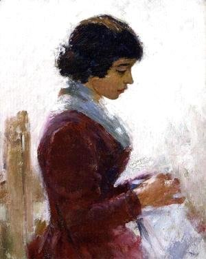 Theodore Robinson - Girl in Red, Sewing