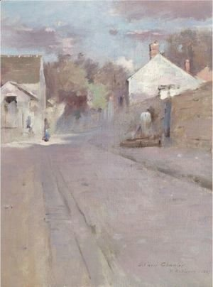 Theodore Robinson - Street In Barbizon, Sunset