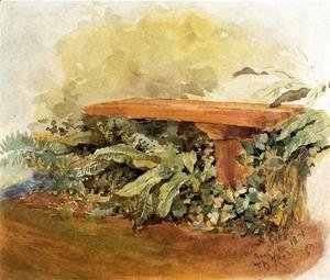 Theodore Robinson - Garden Bench With Ferns