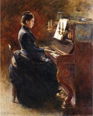 Theodore Robinson - Girl At Piano
