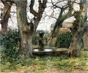 Theodore Robinson - Italian Landscape With A Fountain