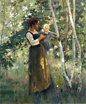 Theodore Robinson - Mother And Child By The Hearth