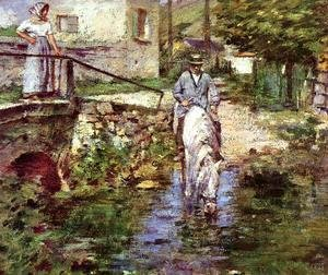 Theodore Robinson - Pere Trognon And His Daughter At The Bridge